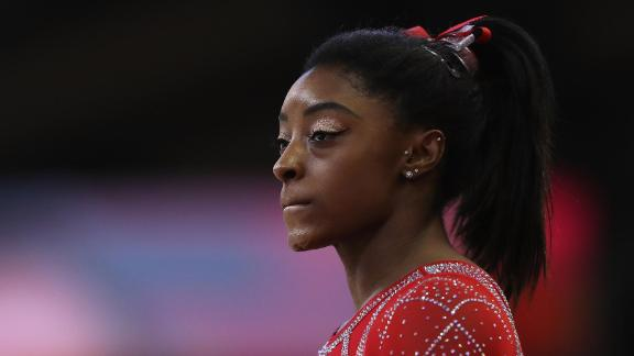 DOHA, QATAR - NOVEMBER 03:  Simone Biles of USA competes in the Womens Floor Final during day ten of the 2018 FIG Artistic Gymnastics Championships at Aspire Dome on November 3, 2018 in Doha, Qatar.  (Photo by Francois Nel/Getty Images)