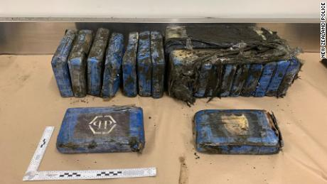 Packages containing cocaine that were found on a New Zealand beach on August 7, 2019.