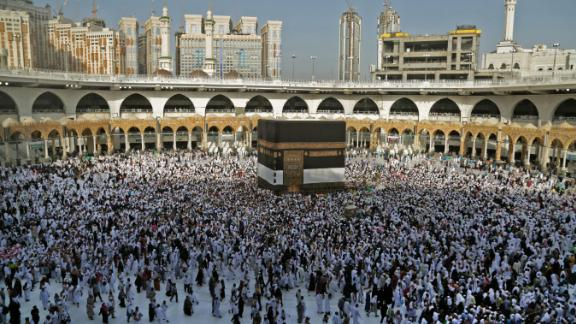 Muslim pilgrims gather at the Grand Mosque in Saudi Arabia's holy city of Mecca on Thursday, August 8.