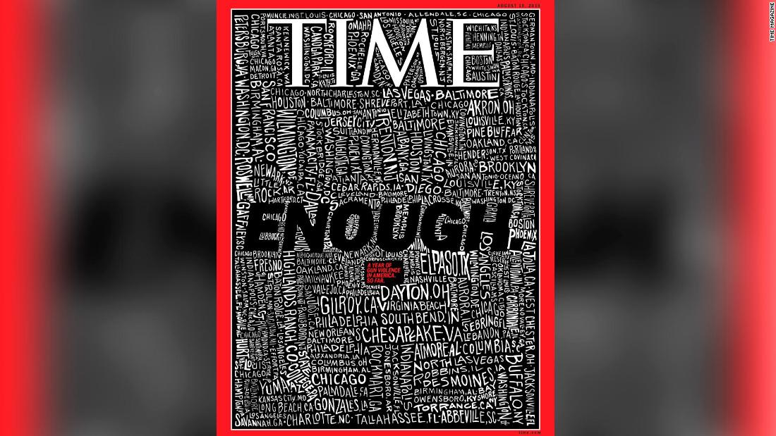 Time magazine's striking cover lists the 253 US cities that experienced a mass shooting this year