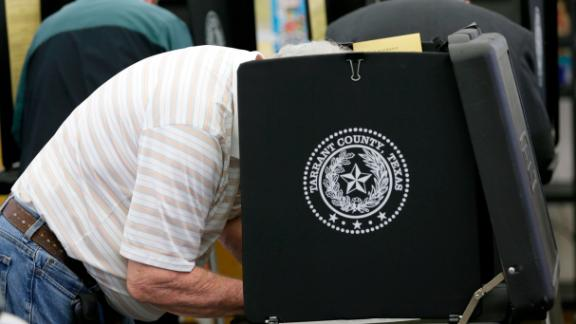 Voters make their choice in the ballot booth during voting in the primary election at Sherrod Elementary school in Arlington, Texas,  Tuesday, March 1, 2016.  (AP Photo/LM Otero)