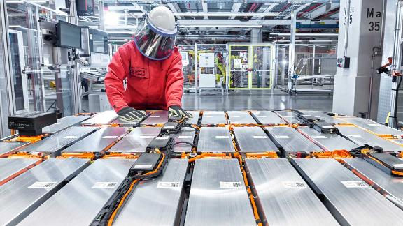 Battery packs are assembled inside Audi