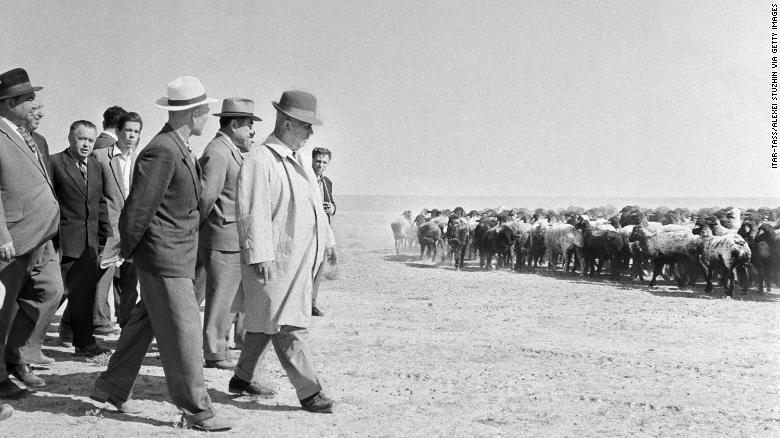 The first secretary of the Communist Party of the Soviet Union, Nikita Khrushchev, visits collective farms at the Gyaur Valley when Turkmenistan was still part of the USSR.