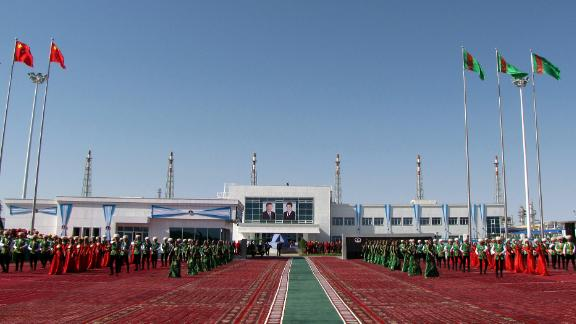 The purification plant at the  Galkynysh gas field, which is the largest in Turkmenistan, nearly 500km away from the capital of Ashgabat. China's President Xi Jinping attended the opening ceremony of the plant.