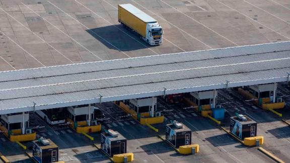 DOVER, ENGLAND - APRIL 04: Lorries arrive at Dover Ferry Terminal on April 4, 2019 in Dover, England. It has been reported the Theresa May has written to the EU asking for an extension to leaving the EU until June 30, 2019.  (Photo by Dan Kitwood/Getty Images)