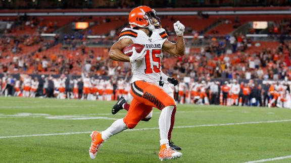 CLEVELAND, OH - AUGUST 8:  Damon Sheehy-Guiseppi #15 of the Cleveland Browns returns a punt for a touchdown during the game against the Washington Redskins at FirstEnergy Stadium on August 8, 2019 in Cleveland, Ohio. Cleveland defeated Washington 30-10. (Photo by Kirk Irwin/Getty Images)