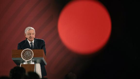 Andres Manuel Lopez Obrador, Mexico's president, speaks during a news conference at the National Palace in Mexico City, Mexico, on Tuesday, Jun. 11, 2019. Mexico launched on Tuesday a plan to curb migration flows, particularly at its southern border with Guatemala, part of a deal it reached with the U.S. to avoid a round of new tariffs. Photographer: Luis Antonio Rojas/Bloomberg via Getty Images