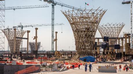 Workers walk through the construction of the New International Airport of Mexico City (NAICM) in Texcoco, Mexico.