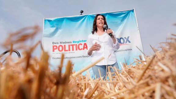 Kamala Harris speaks at the Iowa State Fair on Saturday, Aug. 10, 2019.