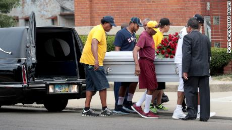 The remains of Derrick Fudge, 57, are carried into St. John Missionary Baptist Church for his visitation and funeral service on August 10, 2019 in Springfield, Ohio. Fudge was one of nine people killed when 24-year-old Connor Betts opened fire with a AR-15 style rifle in the Oregon District in nearby Dayton.