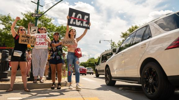 Protesters in New York demand the closure of the US Immigration and Customs Enforcement agency.