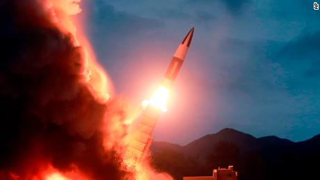 "This Saturday, Aug. 10, 2019, photo provided by the North Korean government, shows what it says the launch of a short-range ballistic missile from the east coast of North Korea. North Korea on Saturday extended a recent streak of weapons displays by firing what appeared to be two short-range ballistic missiles into the sea, according to South Korea's military. The content of this image is as provided and cannot be independently verified. Korean language watermark on image as provided by source reads: ""KCNA"" which is the abbreviation for Korean Central News Agency. (Korean Central News Agency/Korea News Service via AP)"