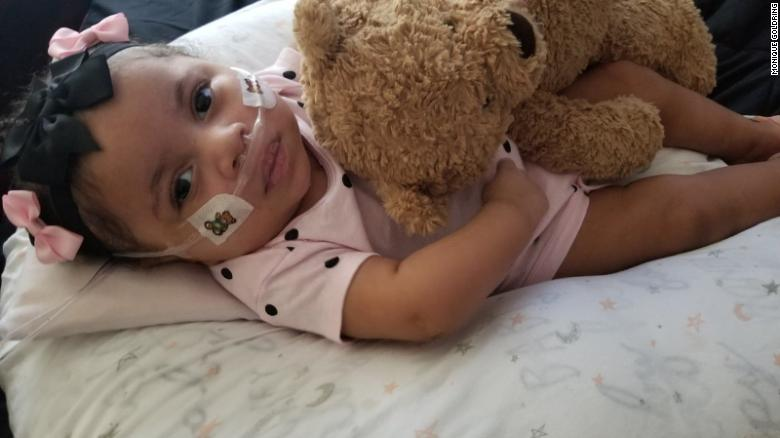 After being taken off life support, Phoenix breathes with the help of a nasal cannula that provides supplemental oxygen.