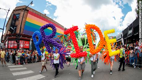 People celebrate the annual Pride Parade in 2017 in Chicago.