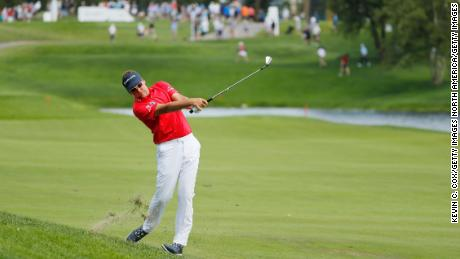 Ian Poulter in action at the Northern Trust in New Jersey