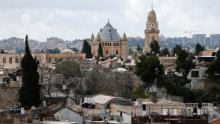 A picture taken on March 17, 2016 shows the Dormition Abbey on the Mount Zion, a Benedictine Basilica, built over the site where Virgin Mary is said to have fallen asleep for the last time, in Jerusalem's Old City. / AFP / THOMAS COEX (Photo credit should read THOMAS COEX/AFP/Getty Images)