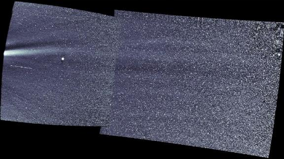 The WISPR camera captured an image of the solar wind.