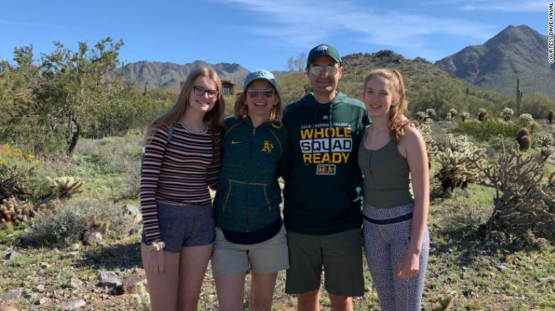 Dave Kaval, president of the Oakland Athletics, with his wife and two teenage daughters.