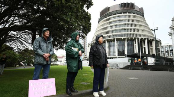 Pro-life supporters look on during a pro-life, anti-abortion rally at Parliament on May 28, 2019 in Wellington, New Zealand.
