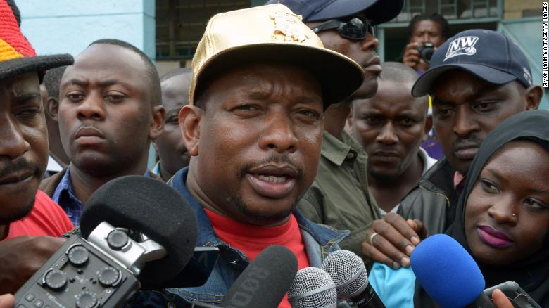 Nairobi's Governor Mike Sonko speaks to the media after elections in April 2017.