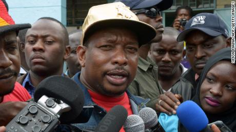 Nairobi Governor Mike Sonko speaks to the media after the April 2017 elections.