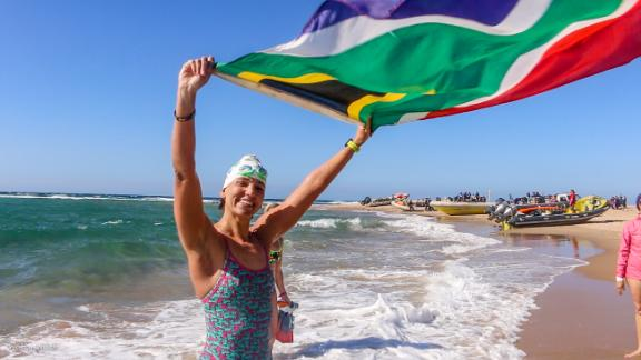 Sarah Ferguson upon completing a 100km swim from Mozambique to South Africa to raise awareness of plastic pollution in the ocean.