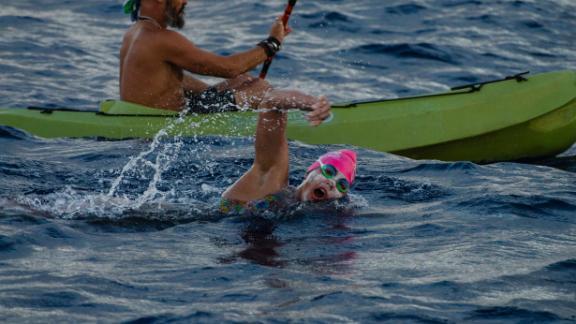Sarah Ferguson during her 65km circumnavigation swim around Easter Island.