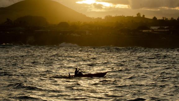 Sarah Ferguson at sunset during her world record setting swim around Easter Island.