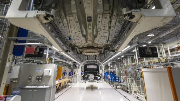 A chassis moves along the VW Golf production line at the Volkswagen AG automobile manufacturing plant in Zwickau, Germany, on Monday, June 17, 2019. VW will spend 1.2 billion ($1.4 billion) retooling Zwickau to make a half-dozen electric models by 2021 but it warns that the payroll is likely to shrink. Photographer: Alex Kraus/Bloomberg via Getty Images