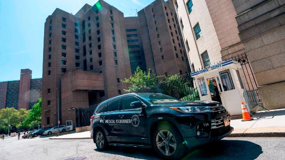A New York Medical Examiner's car is parked outside the Metropolitan Correctional Center where financier Jeffrey Epstein was being held on August 10, 2019, in New York.