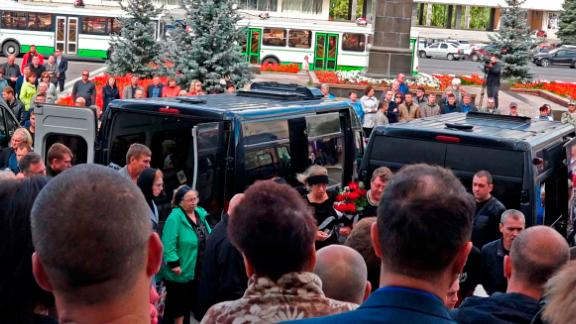Funerals, on August 13, for the five Russian nuclear engineers killed by a rocket explosion in Sarov.