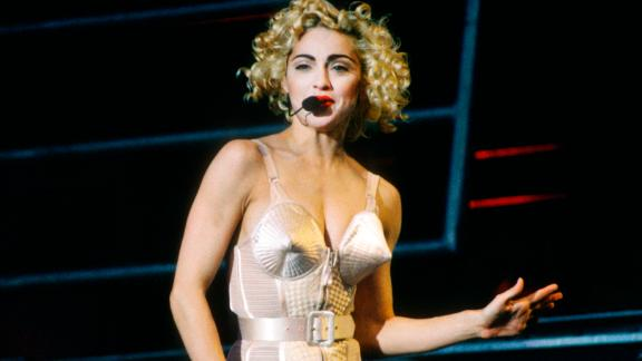 Blonde Ambition Tour, Madonna, Feyenoord Stadion, De Kuip, Rotterdam, Holland, 24/07/1990. She is wearing a Jean Paul Gaultier conical bra corset. (Photo by Gie Knaeps/Getty Images)