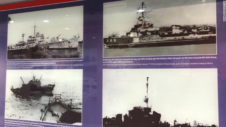 Photos on exhibit inside the Paracel Islands museum show ships involved in a clash with China