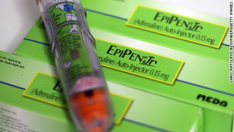An Epipen Junior epinephrine auto-injector, produced by Meda AB, sits on a pharmacy counter in this arranged photograph in London, U.K., on Thursday, Dec. 29, 2016. The rapid pace of innovation among drugmakers may continue to be overshadowed by broader investment themes, such as the switch away from defensive stocks into more cyclical industries, during 2017, according to Bloomberg Intelligence. Photographer: Chris Ratcliffe/Bloomberg via Getty Images