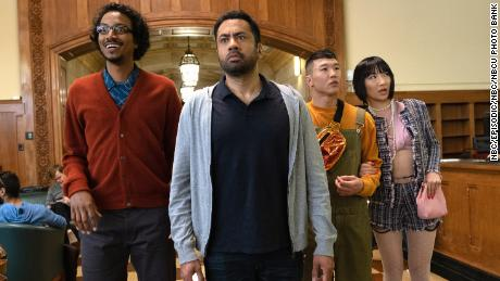 Samba Schutte, Kal Penn, Joel Kim Booster, and Poppy Liu in 'Sunnyside' (Photo by: Colleen Hayes/NBC/NBCU Photo Bank)