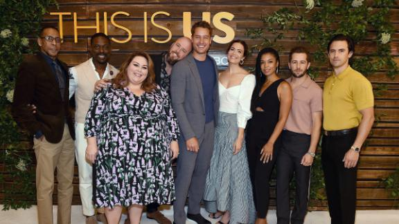 Ron Cephas Jones, Sterling K. Brown, Chrissy Metz, Chris Sullivan, Justin Hartley, Mandy Moore, Susan Kelechi Watson, Michael Angarano and Milo Ventimiglia attend at NBC's 'Pancakes With The Pearsons' event on August 10. (Frank Micelotta/20th Century Fox Television/PictureGroup)