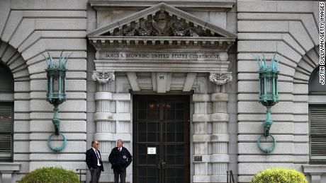 SAN FRANCISCO, CA - JUNE 12:  Security guards stand in front of the Ninth U.S. Circuit Court of Appeals  on June 12, 2017 in San Francisco, California. A ruling from a three-judge panel of the Ninth Circuit Court of Appeals has ruled against U.S. President Donald Trump's revised executive order limiting travel from six predominately Muslim countries.  (Photo by Justin Sullivan/Getty Images)