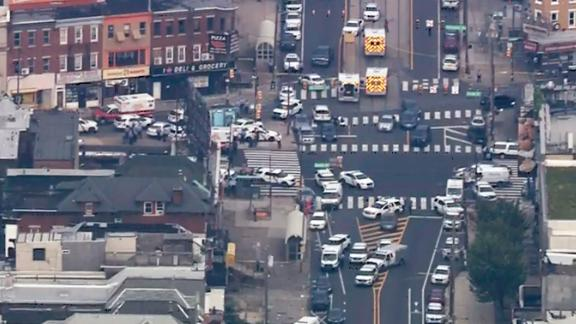 Video from a news helicopter showed more than 50 police vehicles at the scene.