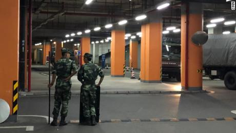 Chinese paramilitary units in Shenzhen, China.