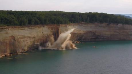 The moment these cliffs fell and barely miss kayakers