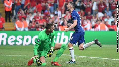 Chelsea's Jorginho, right, celebrates after scoring his team's second goal from the penalty spot.