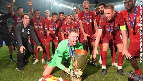 Adrian celebrating with the trophy shorlty after Liverpool won the UEFA Super Cup.
