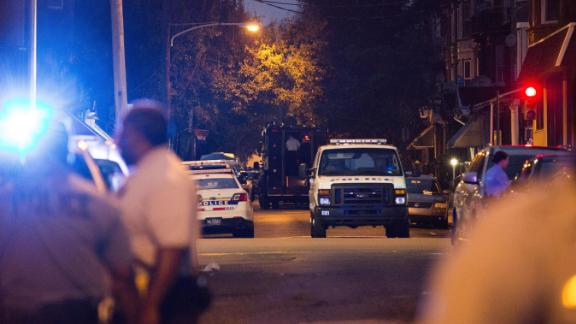 A SWAT vehicle stakes out the house where the standoff was taking place.