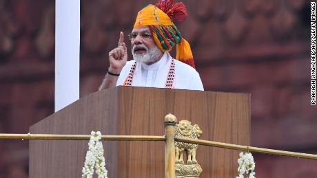 India's Prime Minister Narendra Modi delivers a speech to the nation during a ceremony to celebrate country's 73rd Independence Day, which marks the of the end of British colonial rule, at the Red Fort in New Delhi on August 15, 2019. (Photo by Prakash SINGH / AFP)        (Photo credit should read PRAKASH SINGH/AFP/Getty Images)