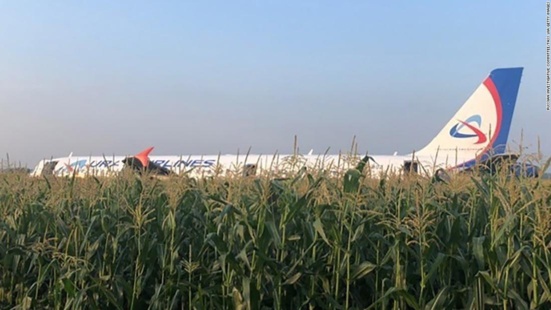 Russian plane crash-lands outside Moscow after striking flock of gulls