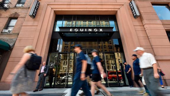 Some celebrities have called for people to boycott and members to renounce their membership to Equinox and SoulCycle fitness entities, as Stephen Ross, chairman and founder of Related Companies that own the fitness companies, plans a fundraiser in the Hamptons for President Donald Trump's 2020 Presidential campaing; exterior view of Equinox and SoulCycle on Manhattan's upper west side, August, 8, 2019. Equinox said that Mr. Ross is a passive investor and not involved in the management of either businesses. (Photo by Anthony Behar/Sipa USA)(Sipa via AP Images)