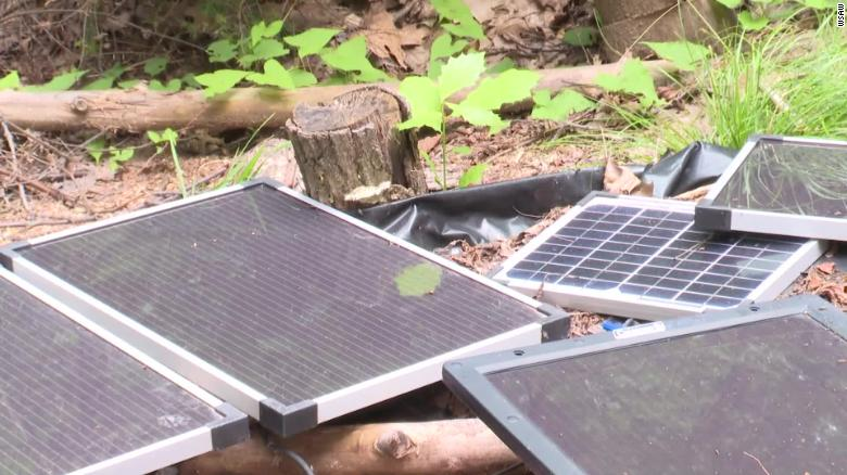 Makeshift solar panels over the bunker.