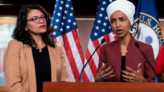 In this July 15, 2019, file photo, U.S. Rep. Ilhan Omar, D-Minn, right, speaks, as U.S. Rep. Rashida Tlaib, D-Mich. listens, during a news conference at the Capitol in Washington. (AP/J. Scott Applewhite, File)