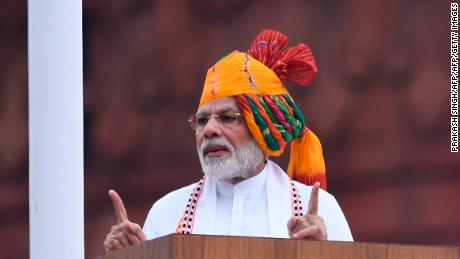 India's Prime Minister Narendra Modi, pictured speaking on Independence Day on August 15 2019, commands a vast following in the country but has been criticised for aspects of his Hindu nationalist agenda and alleged rights violations