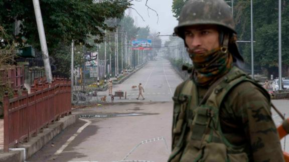An Indian soldier on a deserted road during lockdown in Srinagar, Indian-controlled Kashmir, on Thursday, August  15.